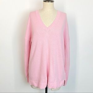 J. Crew Pink V Neck Tunic Sweater Pullover Wool
